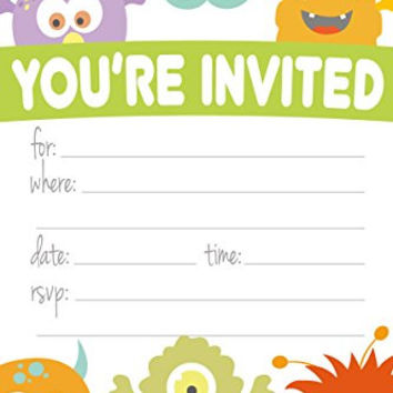 Monster Themed Party Invitations - Fill In Style (20 Count) With Envelopes by m&h invites