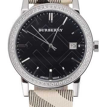 Burberry The City Classic Black Dial Haymarket Bracelet 622568