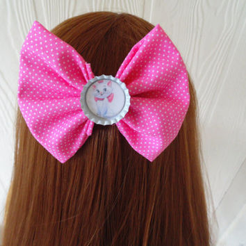 Marie hair bow  / Aristocats hair bow / Hair Bow / pink bow / Pinkie / Disney hair bow / Aristocat hair clip / fabric bow / girls hair bow