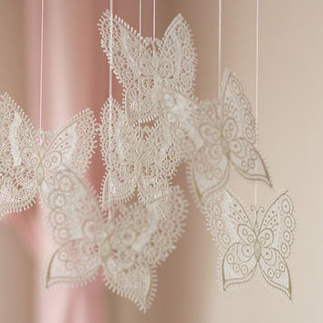Butterfly Baby Mobile, Butterfly Nursery Mobile, Lace Nursery Mobile, Lace Butterfly Crib Mobile, Butterfly Nursery Decor, Baby Girl Mobile
