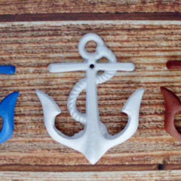 Anchor Wall Hooks Pick Your Color Red White Blue Nautical Beach House Decor Anchor Wall Mount Cast Iron