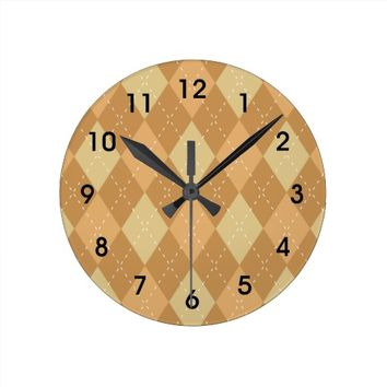 Brown Argyle Like Pattern Round Clock