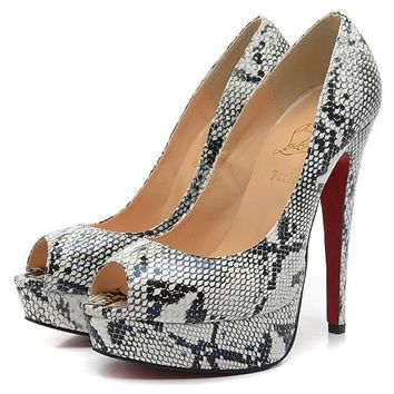 Christian Louboutin Fashion Edgy Snake Print Red Sole Heels Shoes
