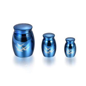 Royal Blue Cremation Urn for Pet Ashes Engravable Funeral Jewelry Loss of Love Memorial Urns Ash Casket Locket Stainless Steel