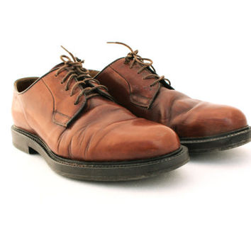 Vintage shoes, Brown Leather Mens Shoes, Men's Shoes Oxfords, Size 8, Vintage men's shoes,