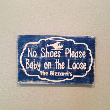 Personalized Wooden Baby no shoes sign by SwirlyTwirlyDesigns