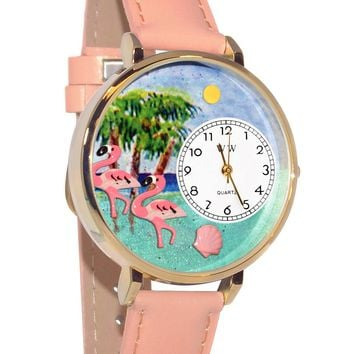 Flamingo Pink Leather And Goldtone Watch