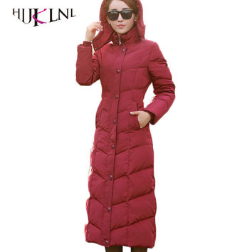 HIJKLNL padded winter down jacket for women 90% white duck down coat 2017 long puffer coat silm thicker down parkas hooded LZ351