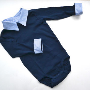 Baby Boy Preppy Onesuit, Navy Bodysuit with Blue Pinstripe, Long Sleeve Onesuit with Faux Button Down with Collar