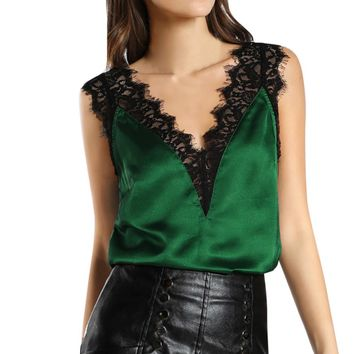 Women Lace Vest Top Sleeveless Casual Tank Blouse Summer T-Shirt Tops Verano Mujer 2017 #P