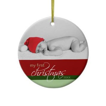 Baby's 1st Christmas Custom Ornament (red) from Zazzle.com