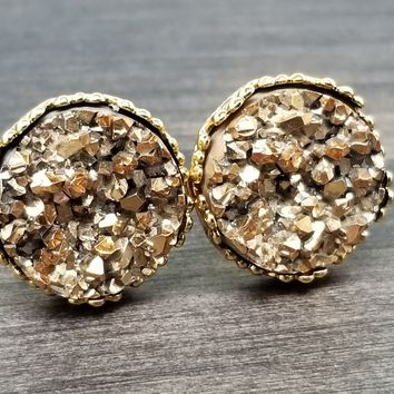 Gold faux druzy in Crown stud earrings (you pick setting tone)
