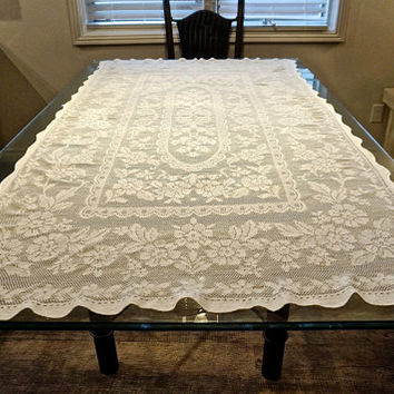 "Vintage Table Cloth, 72"" x 42"" Rectangular Table Cloth,Filet Lace Tablecloth,Cream Tablecloth,Vintage Table LInen,Vintage Boho Wedding Decor"