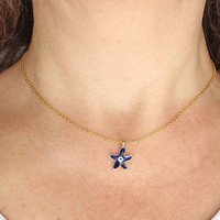Starfish evil eye necklace gold chain necklace best friend birthday gift christmas gift mother gift navy blue starfish
