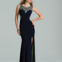 Jersey Beaded Dress with Illusion Back from Camille La Vie and Group USA