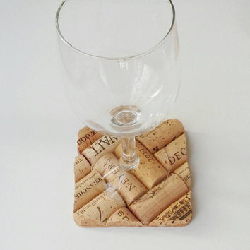 4 wine cork coasters | house warming gift | wedding gifts | wine cork crafts