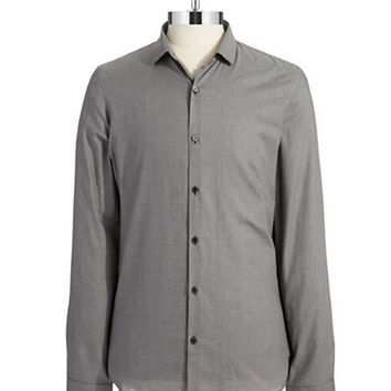 Michael Kors Micro Houndstooth Slim Fit Sports Shirt
