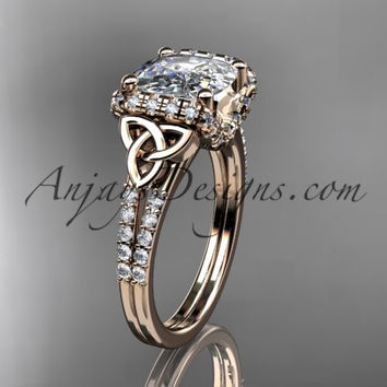 14kt rose gold diamond celtic trinity knot wedding ring, engagement ring with Cushion Cut Moissanite CT7148