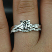 Tressa 14kt White Gold Cushion FB Moissanite and Diamonds Twist Wedding Set(Other Metals and Stone Options Available)