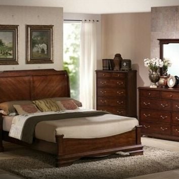 4 pc Patricia collection Queen antique cherry oak finish wood sleigh bed headboard and low foot board
