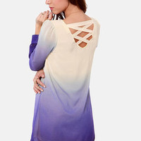 Roll the Dyes Beige and Blue Ombre Dress