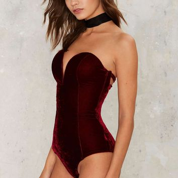 Rare London Sweet 'n Low Velvet Bodysuit