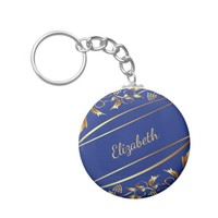 Blue and chic gold colored classic decor name keychain