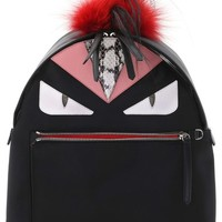 Fendi 'Mini Monster' Genuine Fox Fur, Genuine Goat Fur & Genuine Snakeskin Trim Nylon Backpack | Nordstrom