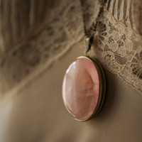 Tuberose - Single Note Solid Perfume Locket with Rose Quartz and Chain