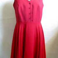 Vintage 1980s Dress Sunny Choi Engine Red Cocktail Sleeveless Silk Chiffon Dress 14