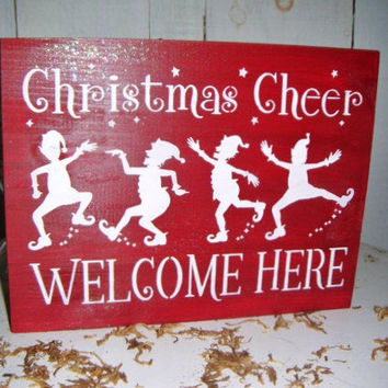 christmas cheer welcome here elf christmas decoration christmas decorations christmas signs christmas decor