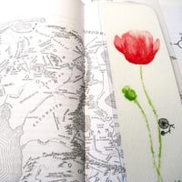 Poppy Bookmark red flower bicycle bookworm watercolor handmade