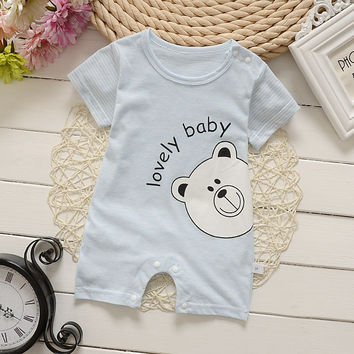 Summer New Cute Cartoon Pattern Baby Rompers Boys   Short sleeves Jumpsuit Cotton Crawling Coverall baby boys Clothing