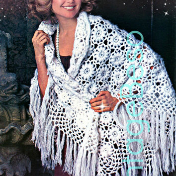 Flower Shawl 1970s Vintage CROCHET Patterns glamorous wrap-up with fringe plus is modeled by Christie Brinkley Instant Pdf Vintage Beso