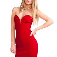 Red Plunging Sweetheart Strapless Bodycon Dress