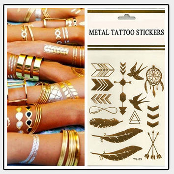 3 pcs Body art chain gold tattoo temporary tattoo tatoo flash tattoo metallic tattoo jewelry temporary tattoost stickers  D0256