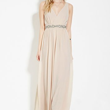 Rhinestone-Waist Maxi Dress