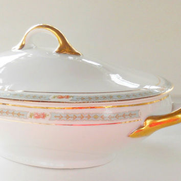Carlsbad Covered Tureen, Austria, Signed, Double Handle Bowl, Lidded Bowl, Oval Tureen, Tea Party, Wedding, Cottage Style, Housewarming Gift