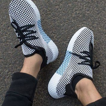 Gotopfashion Adidas Deerupt Running Shoes Runner Trifolium Mesh Sneakers B-CSXY White Surface With Blue/white Soles