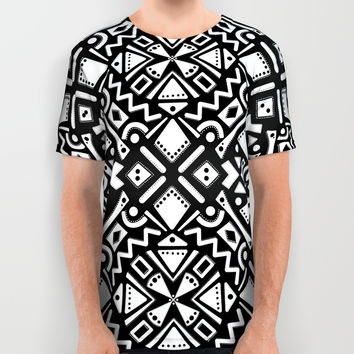 Tribal Tiles IV (Black and White) Geometric Print Pattern All Over Print Shirt by AEJ Design