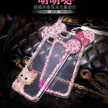 J5 J7 2016 Hello kitty with bling diamond Rhinestone Mickey cover for Samsung Galaxy J510 J710 A3 A5 A8 A9 phone case With chain