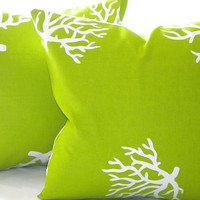 Pillow cover Chartreuse/ White Coral indoor/outdoor by MicaBlue