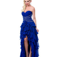 Royal Ruffles Blue High Low Prom Dress - Unique Vintage - Cocktail, Pinup, Holiday & Prom Dresses.