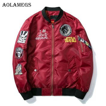 Aolamegs Mens Jacket Star Wars Embroidery Thin MA-1 Bomber Jacket Street Stand Collar Fashion Hip Hop Outwear Men's Coat Bomb