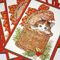 Vintage Christmas Cards, Calico Kitten in Basket with Red Bow, Merry Christmas