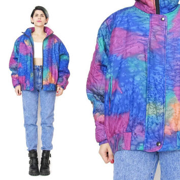 80s Neon Silk Bomber Jacket Watercolor Rainbow Hand Dyed Artist Quilted Jacket Winter Zip Up Jacket Bright Womens Warm Ski Jacket (M/L)