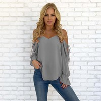 Gray Cutout Strapless Chiffon Top