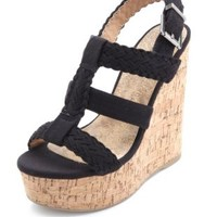 Braided T-Strap Platform Wedges by Charlotte Russe - Black