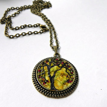 "TREE Pendant Necklace Hand Painted Eggshell Mosaic Bronze 24"" Rolo Chain"