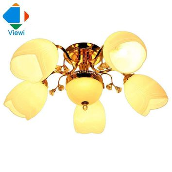 Modern European chandelier ceiling lamp 6*E27 white flower glass lampshade chandeliers Fashion Crystal Living Room Bedroom light